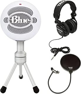 Blue Microphones Snowball Ice Microphone with Knox Pop Filter & Studio Headphones