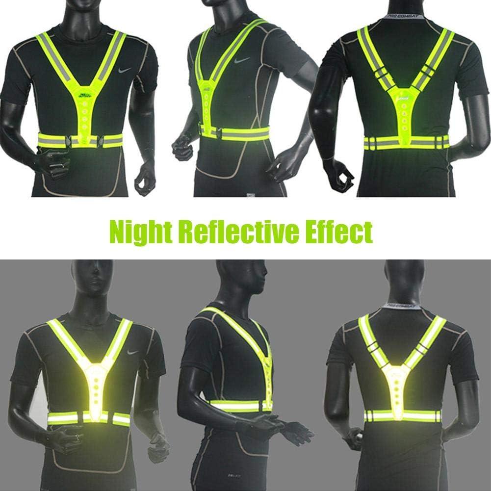 Gilet de signalisation de v/élo /à LED enfants Running r/éfl/échissant pour adultes Gilet de s/écurit/é r/églable pour v/élo de nuit