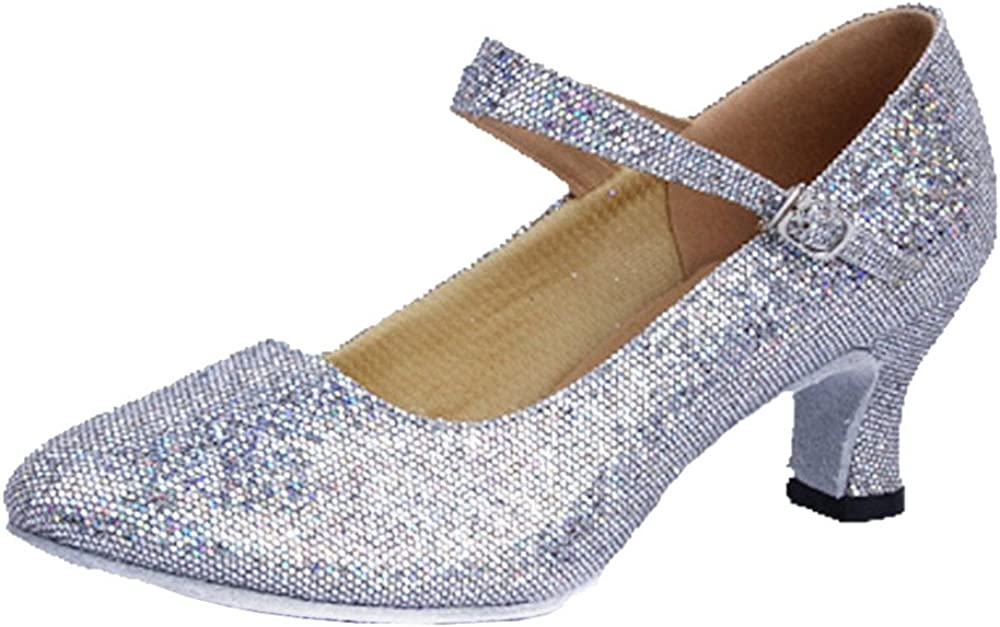 missfiona Women's Glitter Latin Ballroom Dance Shoes Pointed-Toe Y Strap Dancing Heels