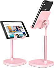 Cell Phone Stand,Angle Height Adjustable LISEN Cell Phone Stand for Desk,Thick Case Friendly Phone Holder Stand for Desk, Compatible with All Mobile Phones-Pink