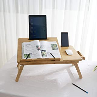 US Fast Shipment Quaanti Laptop Desk,Bamboo Laptop Table Height Adjustable Lap Tray Bed Serving Tray Breakfast Table Foldable Notebook Computer Desk TV Tray Floor Table with Drawer (Bamboo)