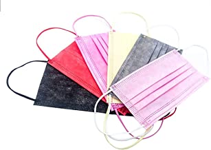 Vanecia Disposable 3-PLY Protective Elastic Earloop Face Masks with 6 Colors Black, Red, Gray, Yellow, Pink, Light Pink Al...