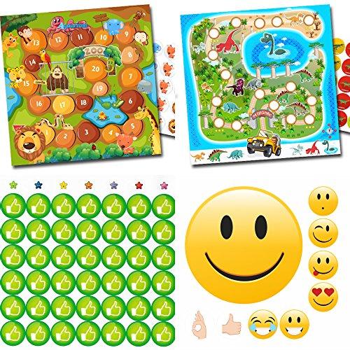 Mega Belohnung-Set für Kinder mit bunten Bögen und vielen Stickern - Zoo + Dino / Like grün und Emoji gut Sticker