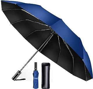 【TSUNEO】 折りたたみ傘 12本骨耐風傘 自動開閉 大きい 台風対応 梅雨対策 おりたたみ傘 メンズ 晴雨兼用 超撥水 高強度グラスファイバー 収納ポーチ付き