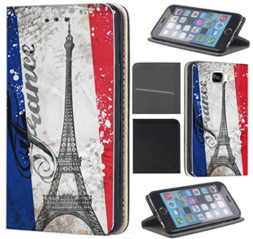 KX-Mobile Hülle für Samsung A41 Handyhülle Motiv 1178 Paris Eifelturm Frankreich Blau Weiß Rot Premium aus Kunstleder Beidseitig Bedruckt HandyCover Handyhülle für Samsung Galaxy A41 Hülle