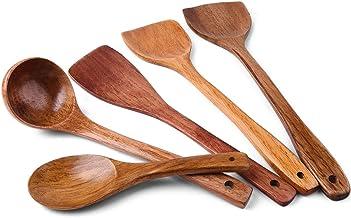 أدوات الطبخ الخشبية أواني المطبخ، مجموعة أدوات المطبخ من الخشب الطبيعي - ملعقة مسطحة خشبية صلبة غير قابلة للالتصاق وملعقة ...
