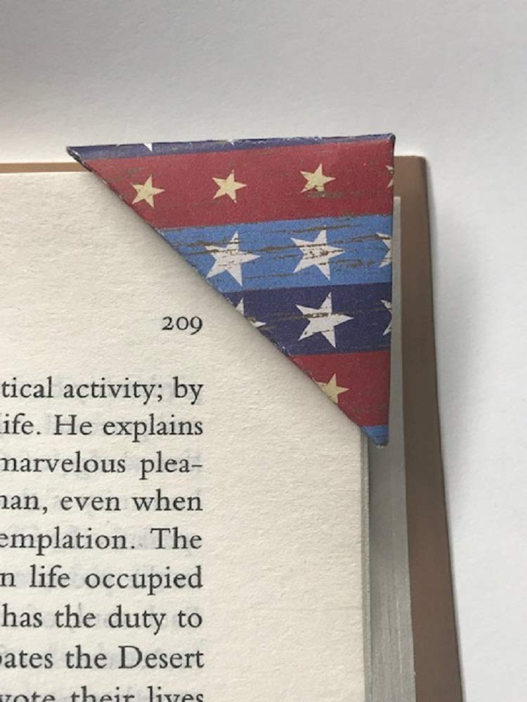 Set of 2 Corner Bookmarks – White Ranking TOP15 Max 60% OFF A Book Red Blue Patriotic