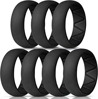 WEIJI Silicone Wedding Ring for Men, Gym Sports Leisure Work, Breathable Rubber Wedding Rings, Classical Style