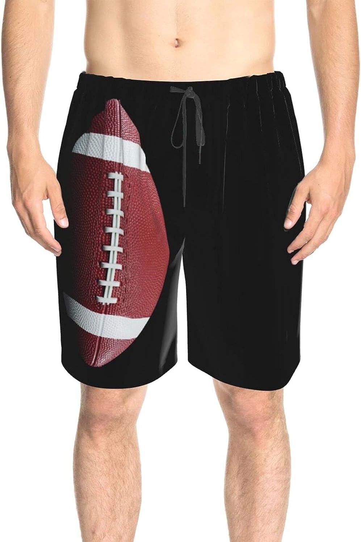 JINJUELS Men's Swim Trunks Football Black Beachwear Board Shorts Fast Dry Fashion Swimwear Beach Shorts with Lining