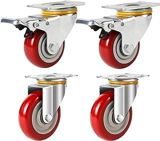 4 stks /8 stks Swivel Plate Casters, 5 Heavy Duty Swivel Castor Wielen met geremde, Polyurethaan Wielen, Rood (Kleur: 4 st)