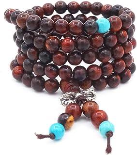 6MM 108 perles de pri/ère agate color/ée six mots mantra Bracelet tib/étain bouddhiste Bouddha m/éditation collier mala bracelet