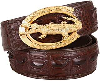 Men's Alligator Genuine Cowhide Belt with Stainless Steel Plaque Buckle, Casual Style 3.8Cm Personality Belt for Jeans and...