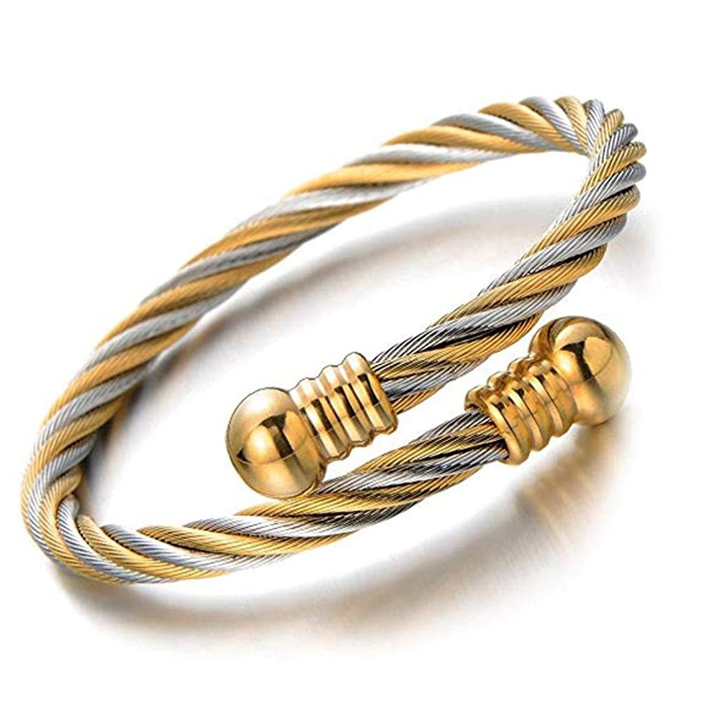 316L Stainless Steel Elastic Adjustable Steel Twisted Cable Cuff Bangle Bracelet for Mens for Women Fashion Jewelry Bracelet Flexible Cable