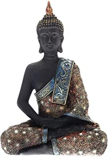 Prime Feng Shui Black Buddha with Bling Golden Cassock Figurine Sitting Vairocana Buddha Home Decor Statue for Gift (Dhayana Mudra)