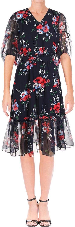 Lauren Ralph Lauren Womens Dinalou Long Sleeve Floral Midi Dress Navy 8