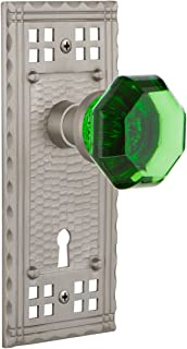 "Nostalgic Warehouse Craftsman Plate with Keyhole Waldorf Emerald Door Knob, Privacy 2.375"", Satin Nickel"