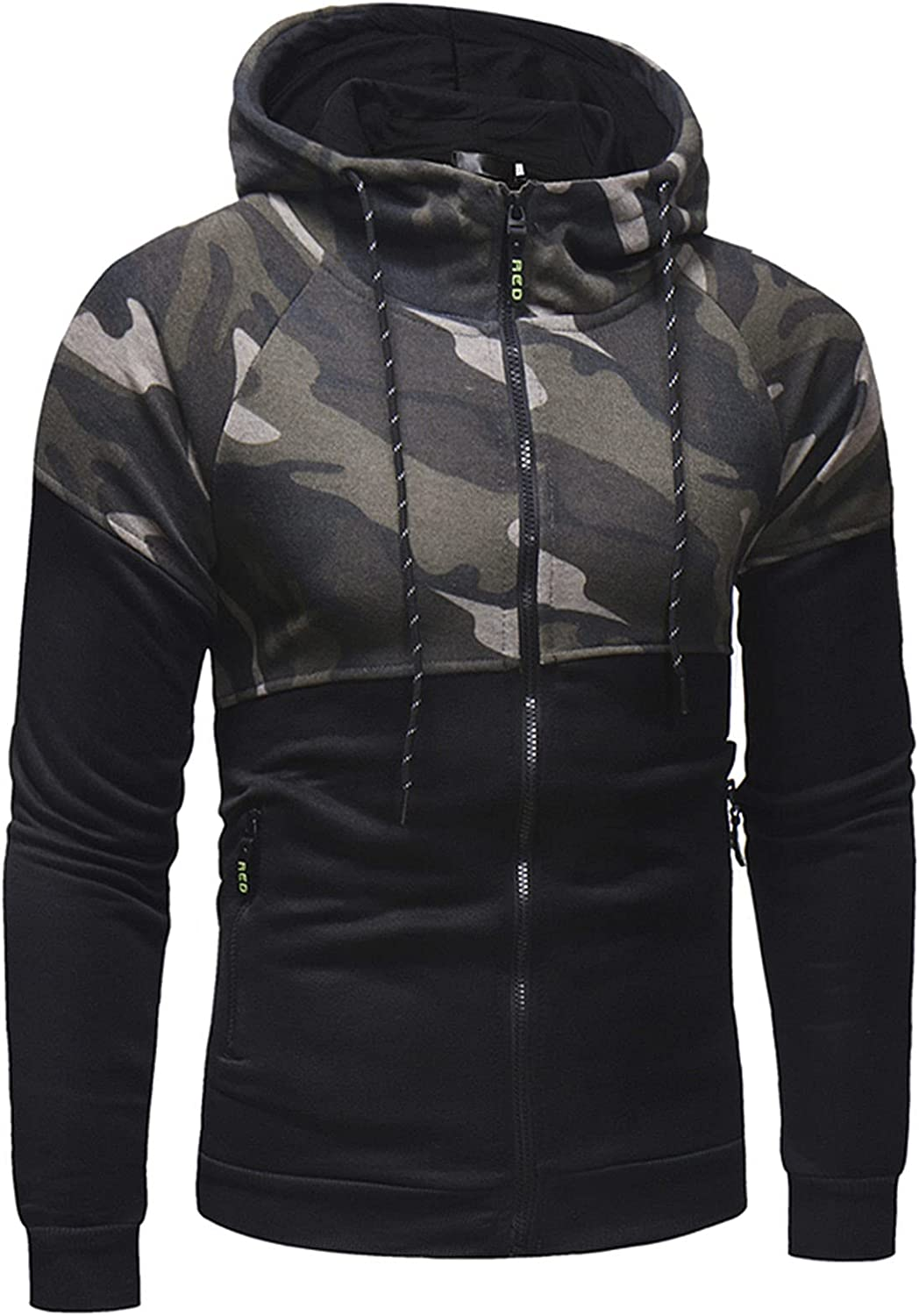 XXBR Camo Hoodies for Mens, Fall Zipper Stitching Hooded Sweatshirts Drawstring Workout Fitness Athletic Casual Jackets