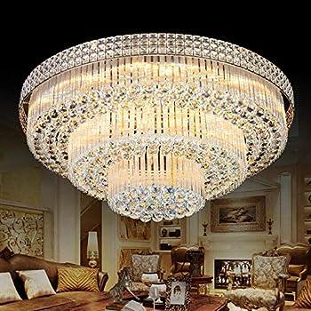 Amazon Com Kalri Modern K9 Crystal Chandelier Flush Mount Led Ceiling Light Fixture Pendant Lamp For Living Room Bar Shop Dia 31 5 Home Improvement