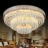 KALRI Modern K9 Crystal Chandelier Flush Mount LED Ceiling Light Fixture Pendant Lamp for Living Room Bar Shop (Dia 31.5'')
