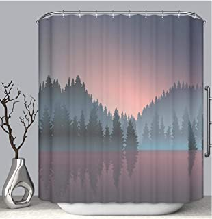 BEICICI Color Shower Curtain Liner Anti-Mildew Antibacterial Lakeview and Pine Wood at Dusk Custom Shower Curtain Bathtub Bathroom Accessories 72W×78Linch