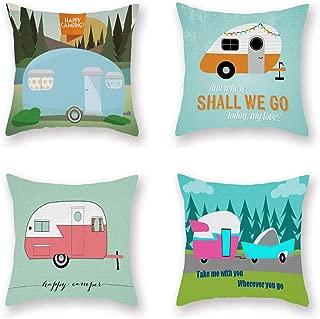 ShareJ Set of 4 Cartoon Camping Car Super Soft Cushion Cover 18