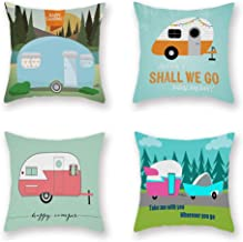ShareJ Set of 4 Cartoon Camping Car Super Soft Cushion Cover 18 x 18 Pillowcase Happy Campers Throw Pillow Case Sofa Outdoor Decoration