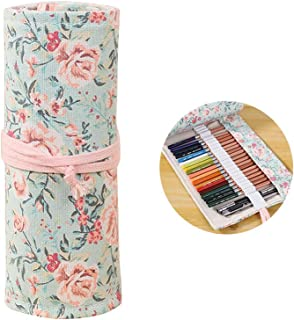 SUPVOX Canvas Handmade Knitting Pencil Roll Wrap Holder Pouch Case with 48 Slots