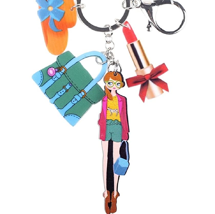 The Crafty Owl Trendy Metal Acrylic Girl - Hat - Lipstick Key Chain with Charms for Women Girl Decorative Charm Pendant Jewelry Aceessories