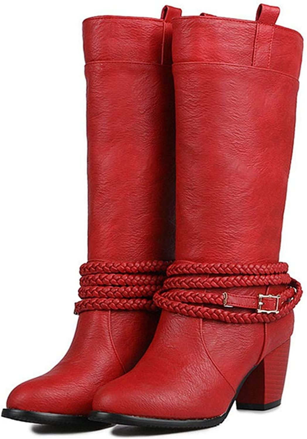 GIY Womens Cowboy Western Mid Calf Boots Buckle Strap Round Toe Stacked Mid Heel Wide Chelsea Riding Boots