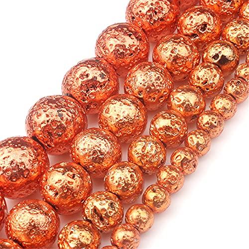 Tablecl Cuentas De Hematita Redondas De Piedra De Lava Natural De Color Rosa Dorado Y Plateado para Joyería De Costura Accesorios De Collar De Pulsera 15 Orange 8mm 45pcs Beads