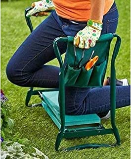 LiRuiPengBJ Garden Kneeler and Seat with Tool Bag Pouch, Outdoor Portable Kneeler with Kneeling Pad, Sturdy Steel Pipe Pra...