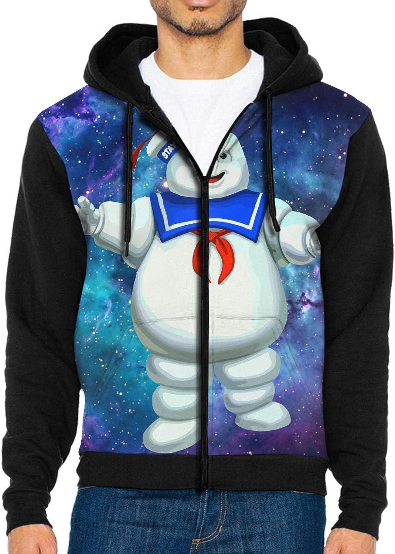 Leasan The Real Ghostbusters Animated TV Series Men's Full Zip Hoodie Hooded Long Sleeve Pocket Fleece Sweatshirt