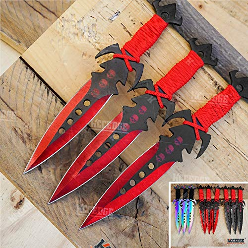 "KCCEDGE BEST CUTLERY SOURCE Tactical Knife Survival Knife Hunting Knife 7.5"" Skull Throwing Knives Set Fixed Blade Knife Razor Sharp Edge Camping Accessories Survival Kit Tactical Gear 74427 (Red)"