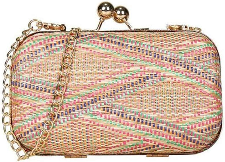 Ladies Handbag Women's Striped Clutch Bag Messenger Bag (color   color)