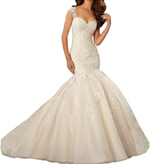 OWMAN Women's Cap Sleeves Mermaid Lace Backless Wedding Dresses Long Bridal Gowns