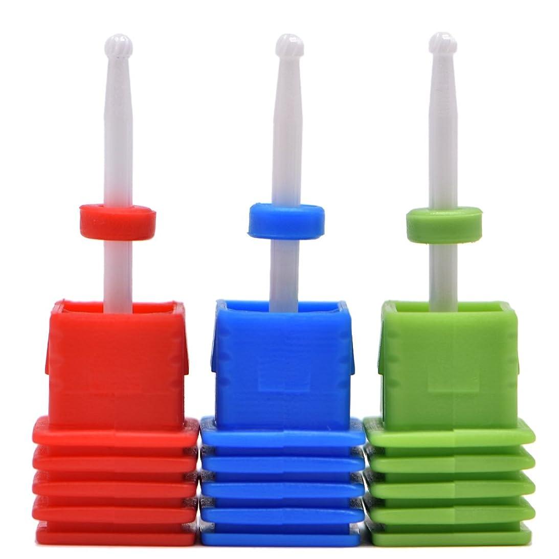 ヘア倒産酸っぱいOral Dentistry ネイルアート ドリルビット小さい丸い 研磨ヘッド ネイル グラインド ヘッド 爪 磨き 研磨 研削 セラミック 全3色 (レッドF(微研削)+グリーンC(粗研削)+ブルーM(中仕上げ))