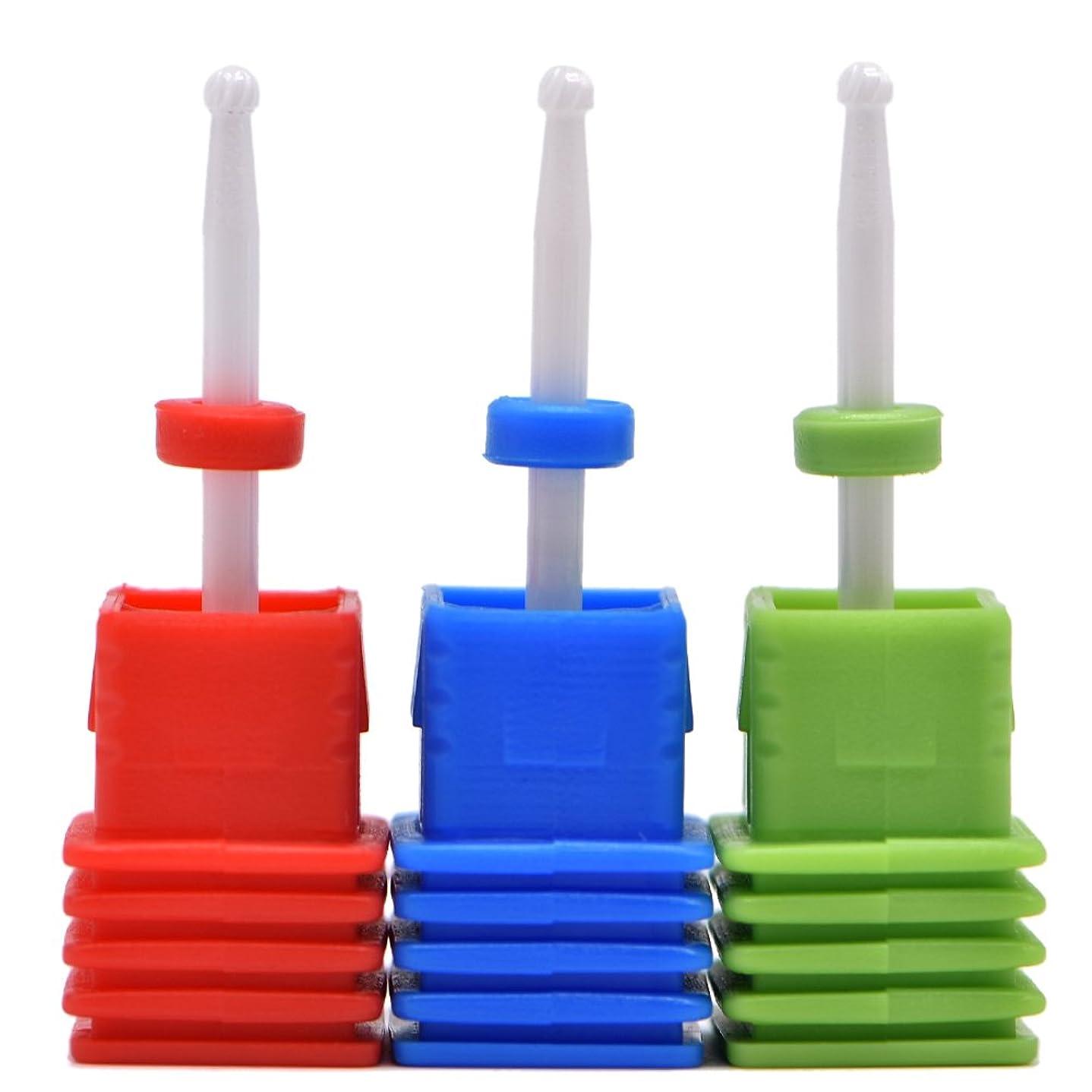 抽象共役砦Oral Dentistry ネイルアート ドリルビット小さい丸い 研磨ヘッド ネイル グラインド ヘッド 爪 磨き 研磨 研削 セラミック 全3色 (レッドF(微研削)+グリーンC(粗研削)+ブルーM(中仕上げ))