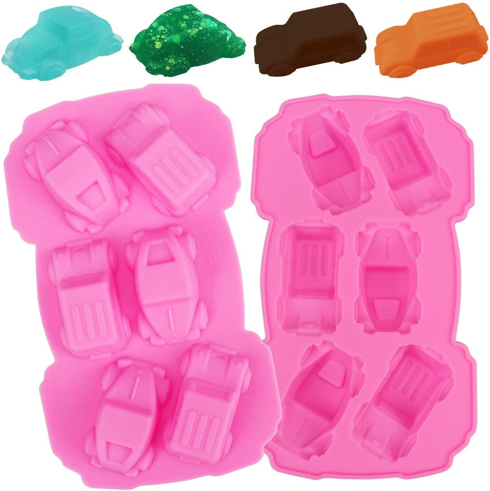 2 Pcs Car Silicone Mold, 5 Cavity Cars Molds Silicone,Food Grade Silicone Fondant Molds for Chocolate,Icing, Cake Decoration, Crayons, Soap Mold, Epoxy
