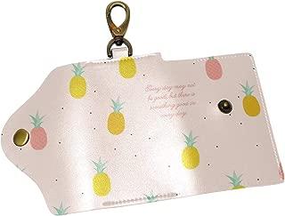 KEAKIA Pineapples Pattern Leather Key Case Wallets Tri-fold Key Holder Keychains with 6 Hooks 2 Slot Snap Closure for Men Women