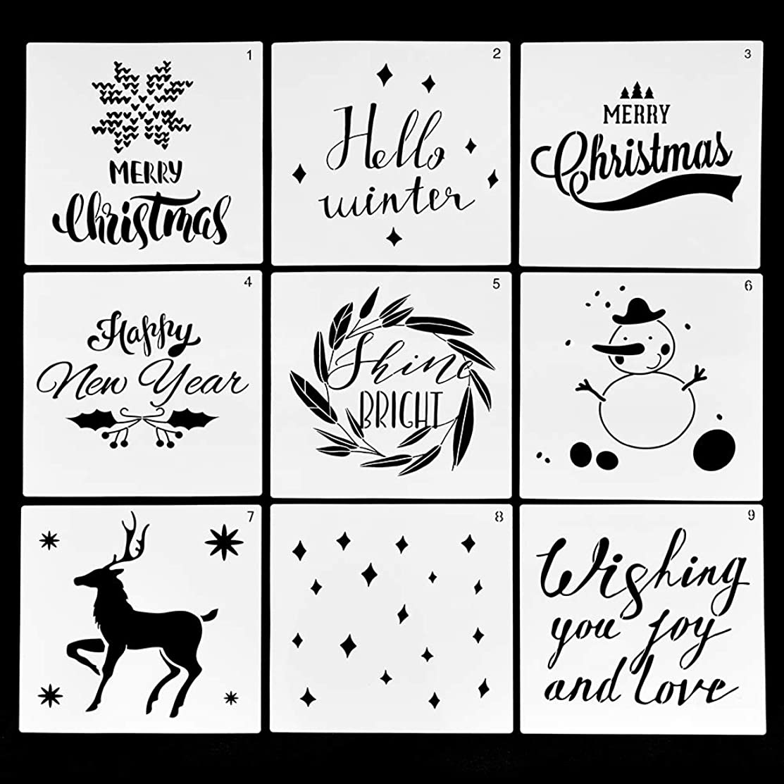 FY Christmas Stencils Merry Christmas,Christmas Tree,Snowflakes for Card DIY Drawing Painting Templates (2)