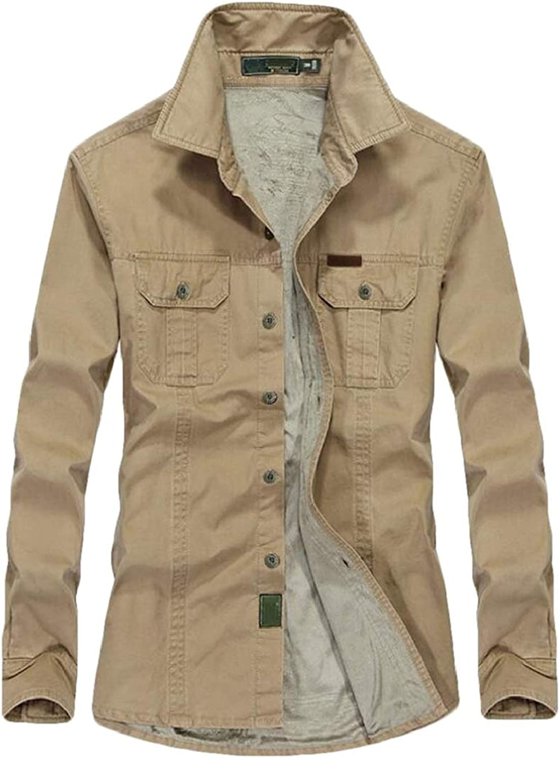 MK988 Mens Linen Fleece Pockets Buttons Military Warm Dress Shirts