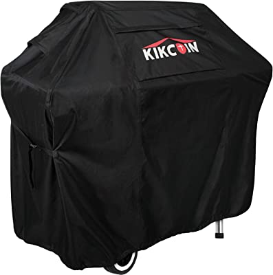 Kikcoin Grill Cover, 58-inch Waterproof BBQ Cover, 600D Weatherproof Heavy Duty Gas Grill Cover, UV & Rip & Fade Resistant,Suitable for Weber, Brinkmann, Nexgrill, Char Broil Grills and More, Black
