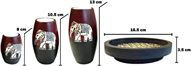 Baimai Tea Light Candle Holder Set of 3 with Elephant Aluminium Decorative Candle Holders, Wood Tray
