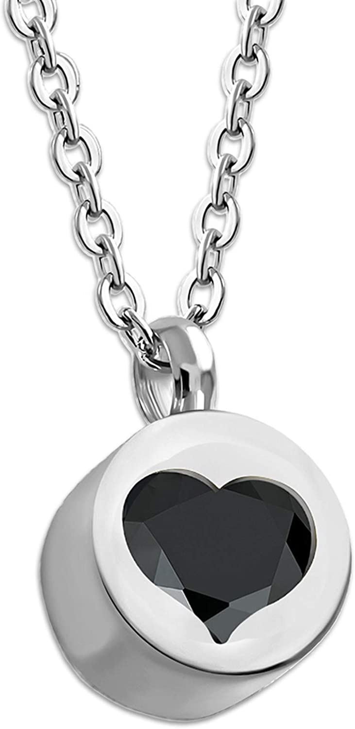 Comfort Zone Studios Stainless Steel Floating CZ Love Heart Cylinder Circle Charm Pendant Necklace