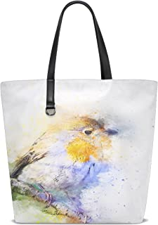 Women Bird Robin Color Animal Art Abstract Vintage Handle Satchel Handbags Shoulder Bag Tote Purse Messenger Bags
