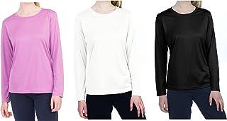 TEXFIT Women's 3-Pack Quick Dry Long Sleeve Shirts, Moisture Wicking (3pcs Set)