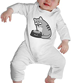 Baby Boys & Girls Bodysuit Cat Eating Noodles Ramen I Am Unhappy Jumpsuit Onesies Long Sleeve