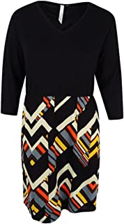 NY Collection Women's Plus Size 3/4 Sleeve Fit and Flare Dress with Solid Top and Printed Skirt