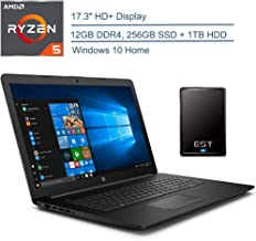 "$649 » 2020 HP 17.3"" HD+ Premium Laptop Computer, AMD Ryzen 5 3500U Quad-Core Up to 3.7GHz(Beat I7-7500U), 12GB DDR4 RAM, 256GB SSD + 1TB HDD, 802.11ac WiFi, Black, Windows 10 + EST 320GB External Hard Drive"