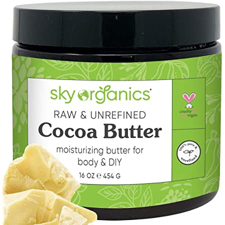 Cocoa Butter by Sky Organics (16 oz) Pure Unrefined Raw Cocoa Butter for Body, Hair and DIY Raw Cocoa Body Butter Natural Cocoa Butter